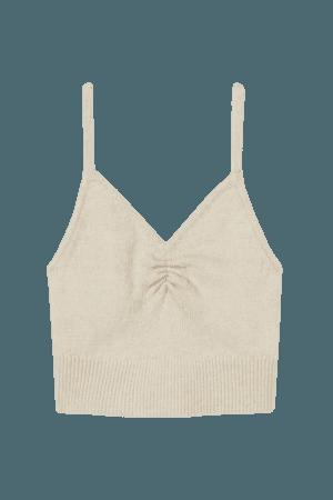 Knit Cropped Top - Light beige - Ladies | H&M US