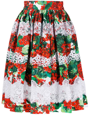 Shop red & green Dolce & Gabbana floral lace embroidered skirt with Express Delivery - Farfetch
