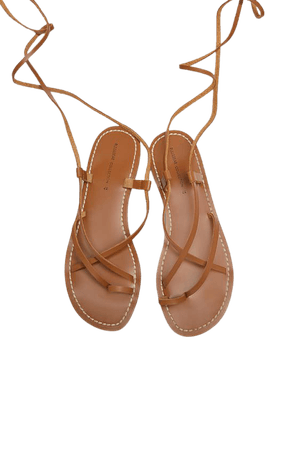 Tied leather flat sandals - pull&bear