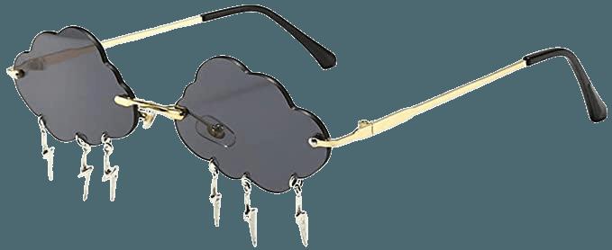 Amazon.com: Cloud lightning Sunglasses for Women/Men Rimless Wave Glasses Eyewear for Party Rimless Sun glasses (black): Clothing