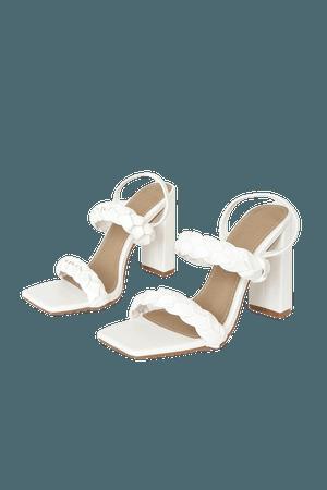 White High Heel Sandals - Braided Heels - Slingback High Heels