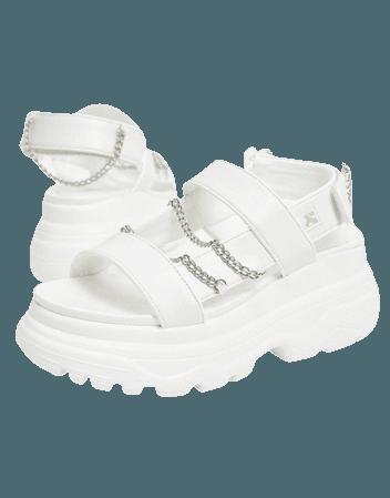 Koi Footwear Marnus vegan chain strappy chunky sandal in white | ASOS