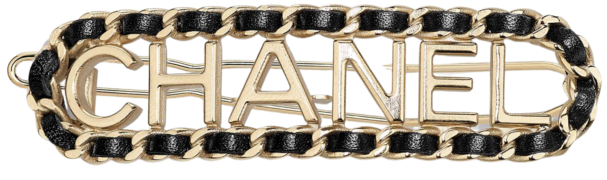 Hair Clip, metal & lambskin, gold & black - CHANEL