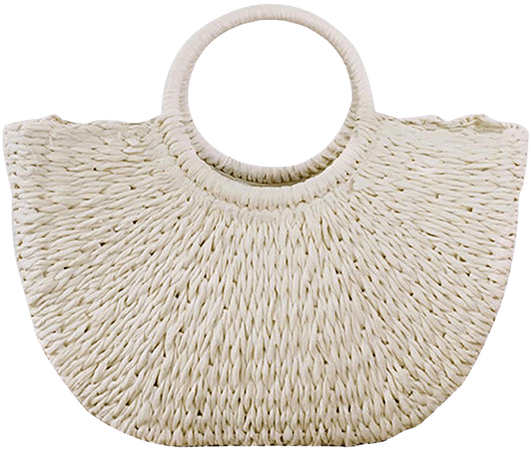 Hand-woven Straw Large Hobo Bag for Women Round Handle Ring Toto Retro Summer Beach (Off white): Handbags: Amazon.com