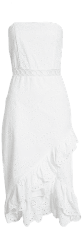 Sam Edelman Asymmetrical Ruffle Eyelet Sheath Dress | Nordstrom