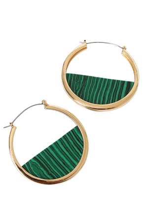 Green Marbled Earrings - Gold Hoop Earrings - Marbled Hoops - Lulus
