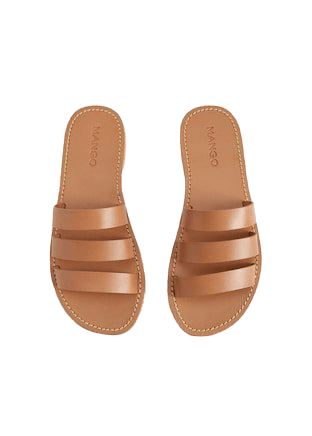 Leather strap sandals - Women | Mango USA brown