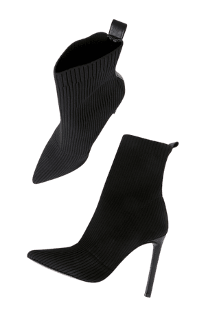Steve Madden Black Boots - Ribbed Sock Boots - Mid-Calf Boots - Lulus