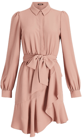 Belted Puff Sleeve Shirt Dress | Express