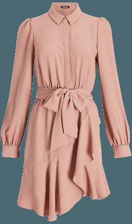 Belted Puff Sleeve Shirt Dress | Express