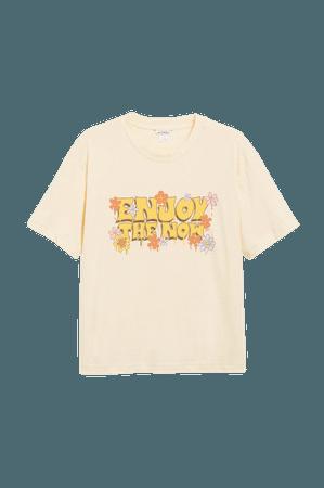 Cotton tee - Yellow - T-shirts - Monki WW