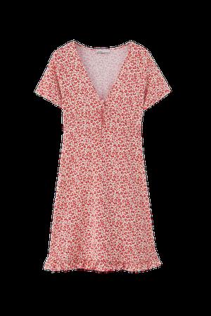 Mini dress with ruffled hem - pull&bear