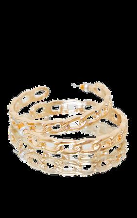 Gold Oversized Chain Hoop Earrings | PrettyLittleThing USA