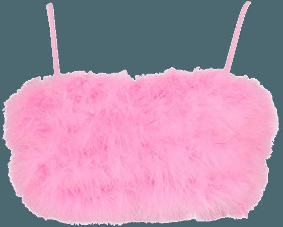 Vimoisa Women Faux Fur Tank Top Spaghetti Strap Crop Cami Top Tight Sleeveless Tube Top Vest(M) Pink at Amazon Women's Clothing store