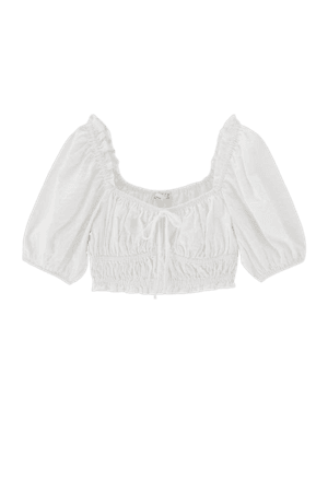 White cropped blouse - pull&bear