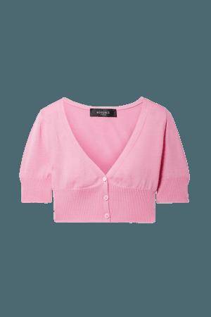 Pink Cropped wool cardigan | Versace | NET-A-PORTER