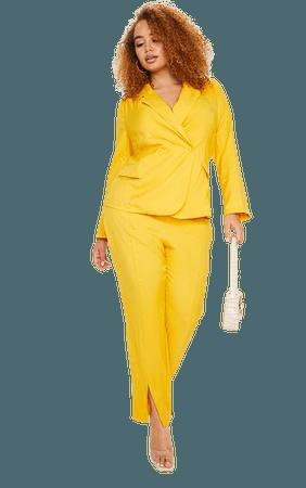 Plus Chartreuse Woven Belt Detail Blazer | PrettyLittleThing USA