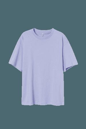 Wide-cut Cotton T-shirt - Blue
