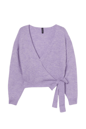 Knit Wrap-front Cardigan - Purple