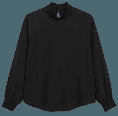 Shirred turtleneck blouse - Black - Shirts & Blouses - Monki WW