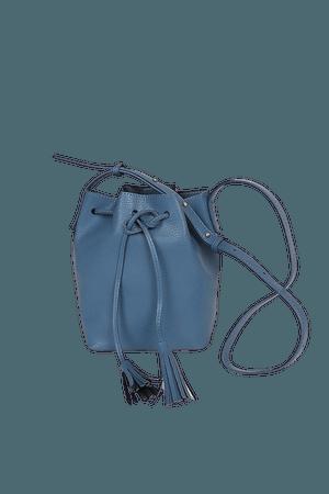 Slate Blue Crossbody Bag - Faux Leather Bag - Bucket Bag - Lulus