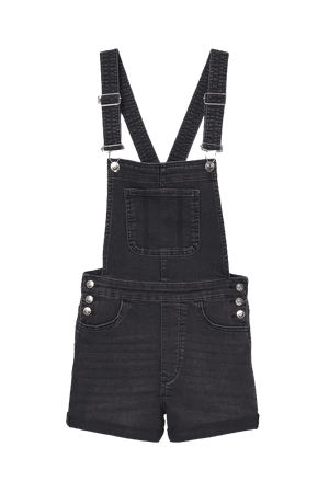 Denim Overall Shorts - Black/washed out - Ladies | H&M US