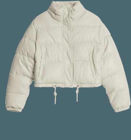 Faux leather puffer jacket - Outerwear - Woman | Bershka cream