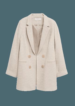 Contrast buttons coat - Women | Mango USA