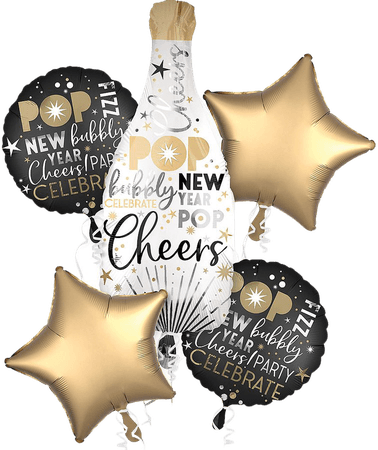 Champagne Bottle New Year's Eve Balloon Bouquet 5pc | Party City Canada