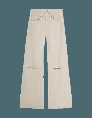 Wide-leg twill pants with rips - Pants - Woman | Bershka