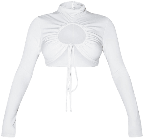Recycled Cream Contour Jersey Ruched Keyhole Tie Detail Long Sleeve Crop Top | PrettyLittleThing USA