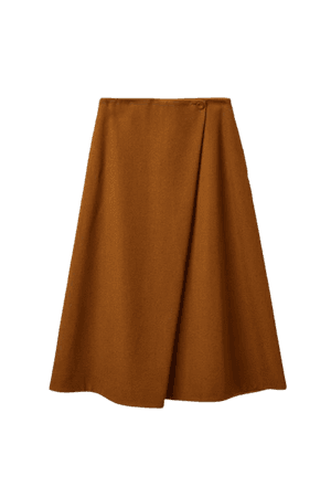 WOOL-COTTON A-LINE SKIRT - brown - Skirts - COS WW