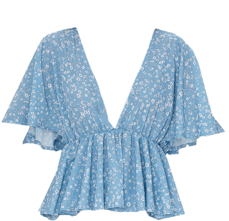 Blue Floral Frill Blouse | Tops | PrettyLittleThing USA