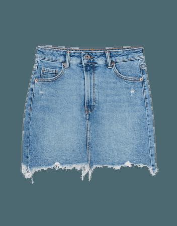 High-rise denim skirt - Skirts - Woman | Bershka