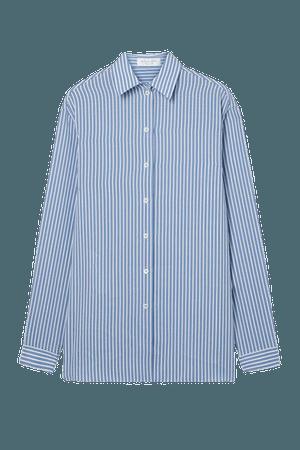 Striped Silk Crepe De Chine Shirt - Blue