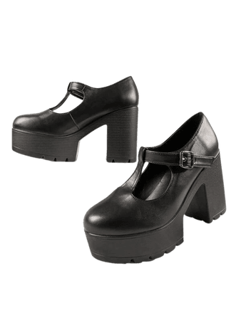 Faux Leather Block Heel Platform Mary Jane   SHEIN USA