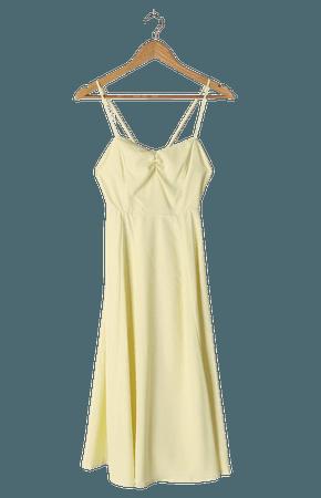 Light Yellow Dress - Sweetheart Midi Dress - Sleeveless Dress - Lulus