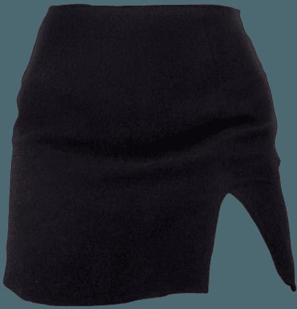 black mini skirt w/ slit
