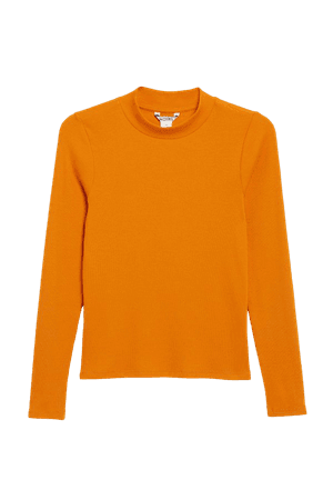 Long-sleeved low turtleneck top - Orange - T-shirts - Monki WW