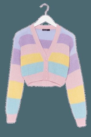 Pastel de Nata Striped Cropped Cardigan | Nasty Gal