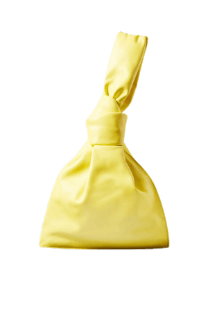 The Mini Twist Knotted Leather Clutch - Yellow