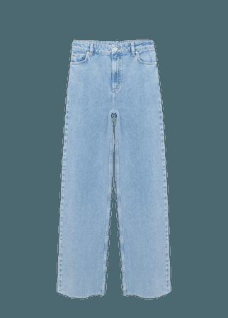 Wide leg high waist jeans - Women   Mango USA