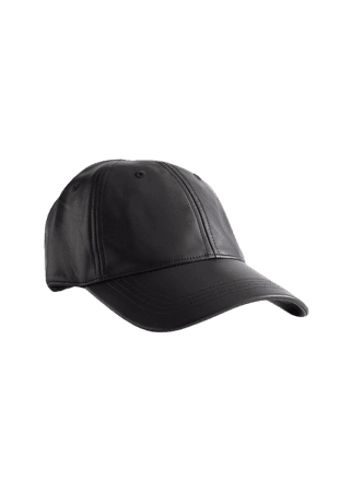 Leather Baseball Cap - Black - Caps - & Other Stories