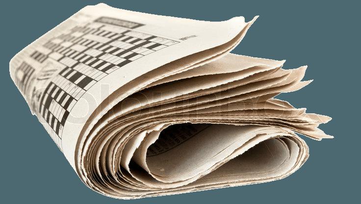 Fold up newspaper isolated on white background | Stock Photo | Colourbox