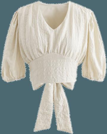 Plaid Jacquard V-Neck Tie Waist Crop Top in Cream - Retro, Indie and Unique Fashion