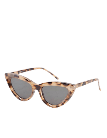 ASOS DESIGN recycled frame bevelled cat eye sunglasses in milky tort | ASOS