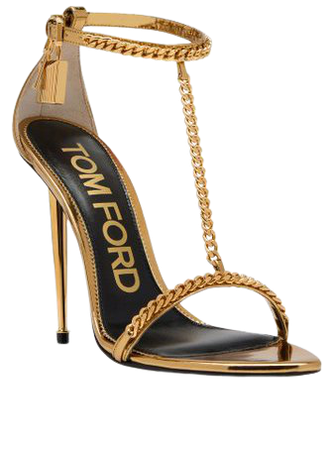 Padlock Chain Pointy Naked Leather Sandals By Tom Ford | Moda Operandi