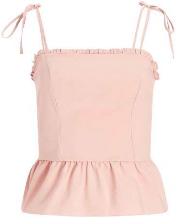 Fitted Tie Strap Peplum Cami | Express