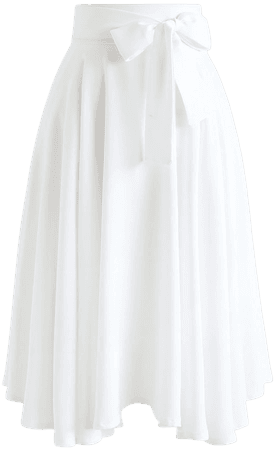 Chic Wish Flare Hem Bowknot Waist Midi Skirt in White - Retro, Indie and Unique Fashion