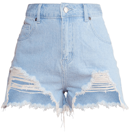 Mid Blue Wash Ripped Denim Shorts   Denim   PrettyLittleThing USA